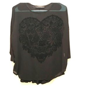 Zara W&B Collection Black Top With Heart Print M